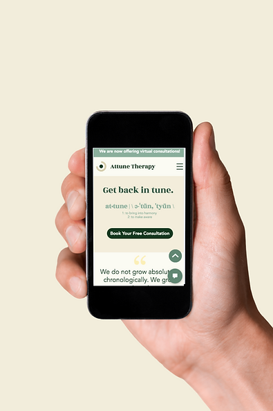 Attune Therapy Website on Mobile