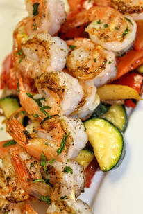 Shrimp with sauteed vegetables and rice