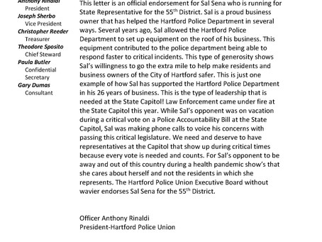 Endorsed by the Hartford Police Union