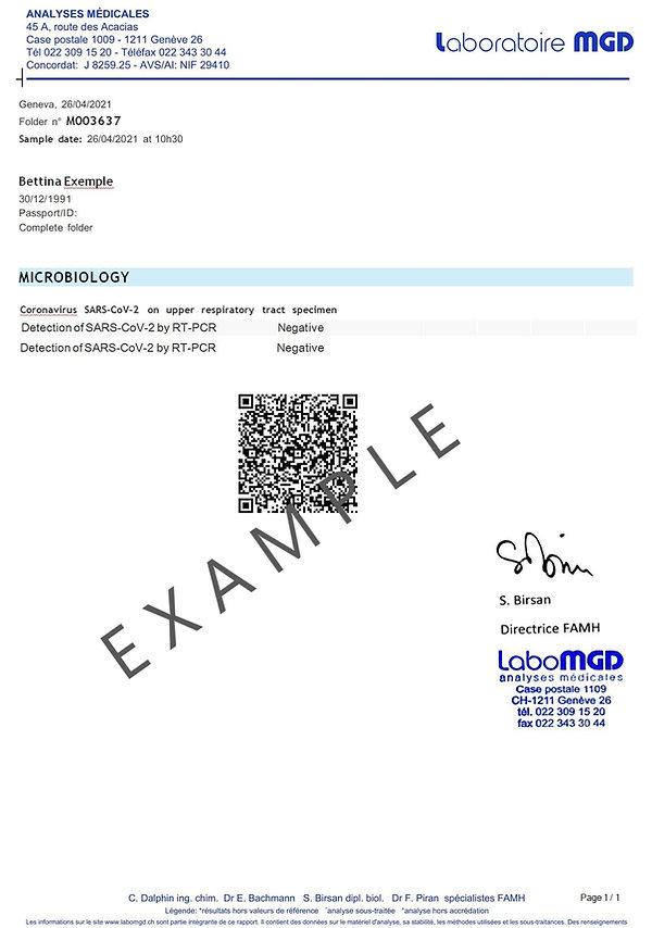 Certificat de voyage avec code QR pour test PCR