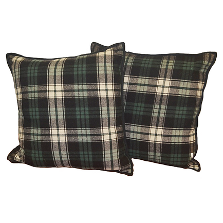 Ralph Lauren, black, navy, green plaid pillows