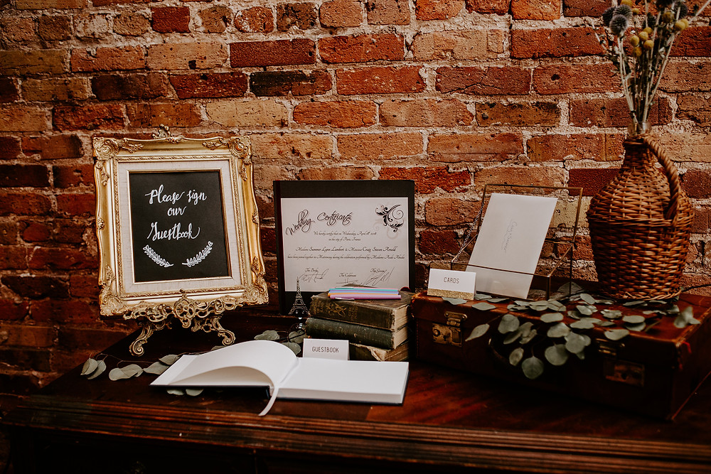 Vintage Buffet served as a guest sign-in table, and was filled with travel decor accents.