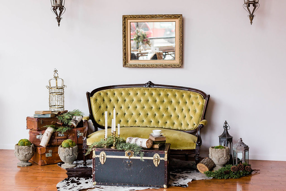 Tufted, British, Green Velvet Settee in The Loft of Elements Preserved, Elgin, IL