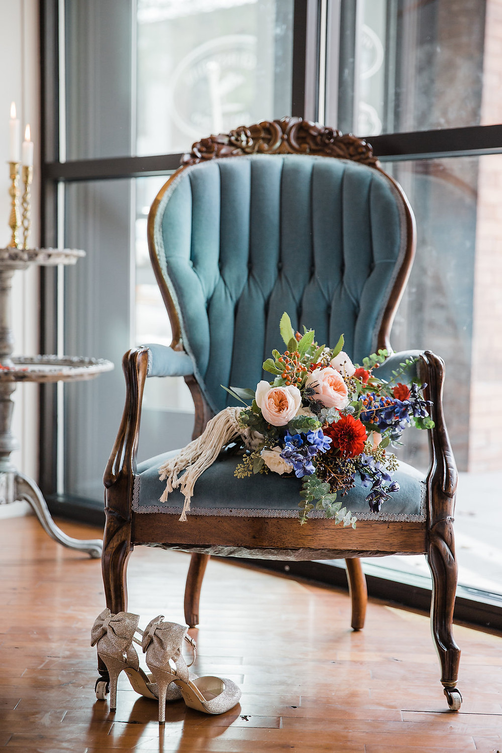 The vintage, wood-trimmed Carolina blue chair was perfect for detail photos of the floral bouquet.