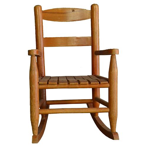Child Wood Slat Rocking Chair