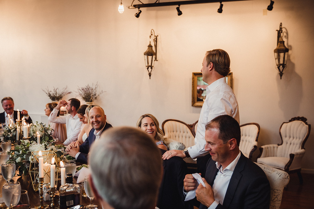Speeches by close family members after the ceremony in The Loft of Elements Preserved