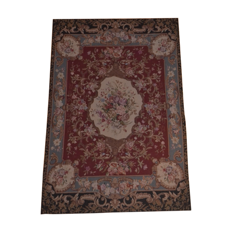 Black, Gold, Rose Aubusson Area Rug