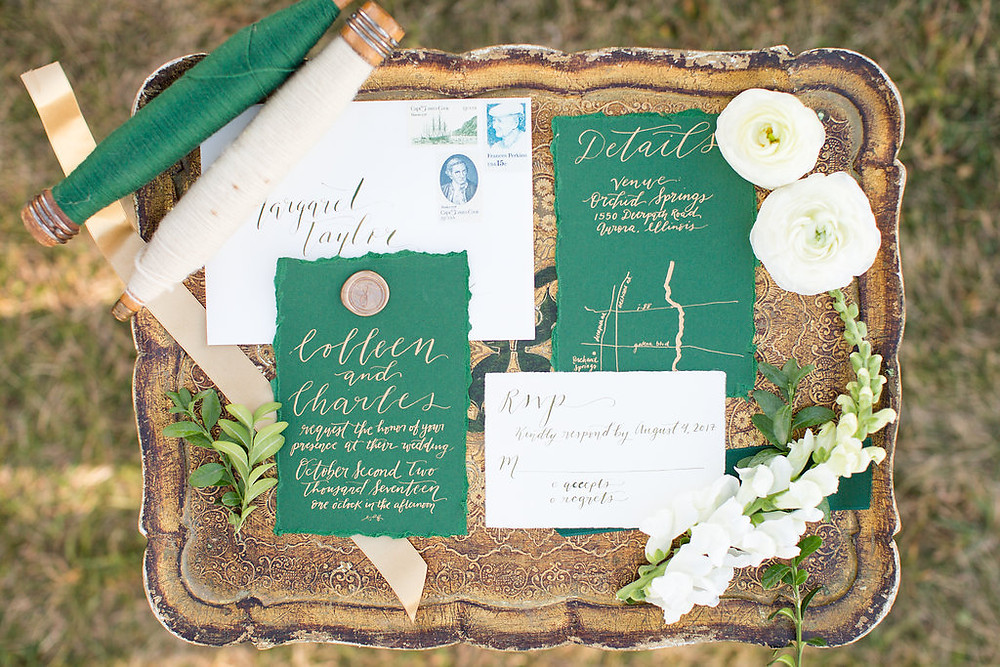 Gaelic, styled wedding shoot, using green and gold, with Elements Preserved Vintage Rental inventory and styling