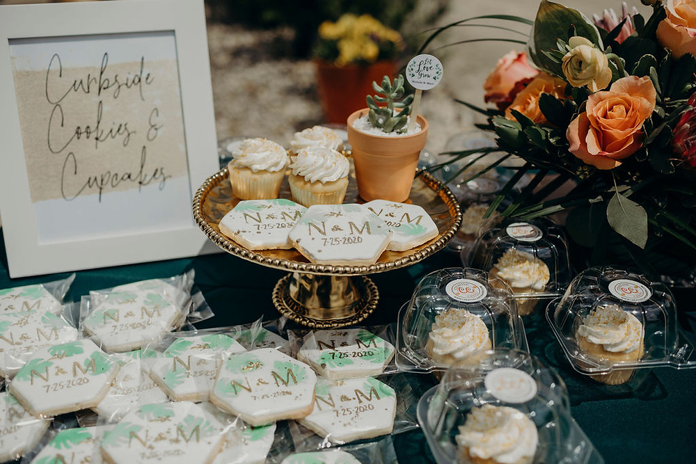 succulent style cookies and cupcakes on gold pedestal cake stand from Elements Preserved Vintage Rental, specialty rentals, Chicago