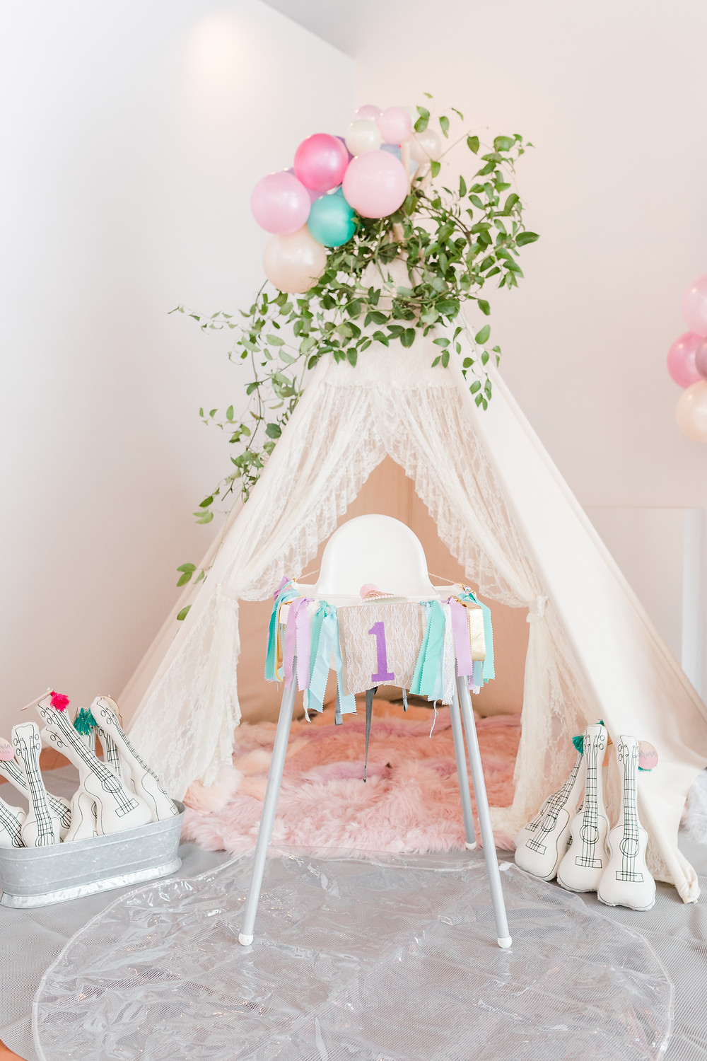 Child-sized teepee for kids to play, and backdrop for smash cake display
