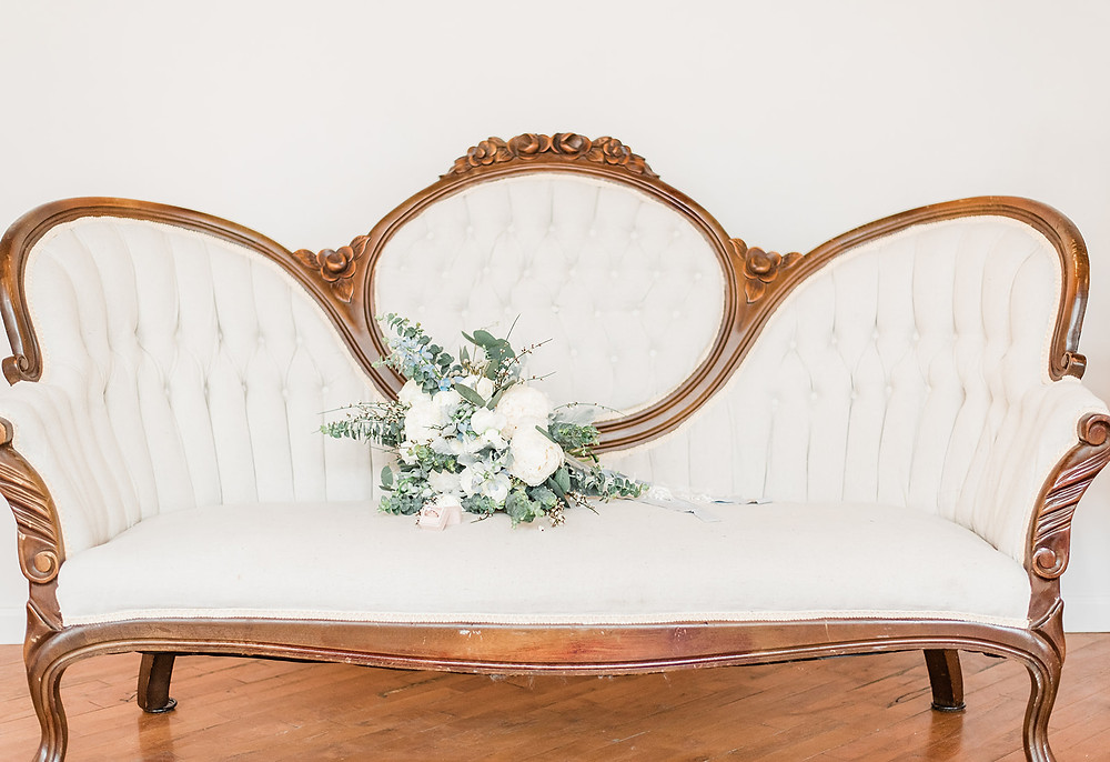 Ivory, carved wood trim, vintage Victorian settee