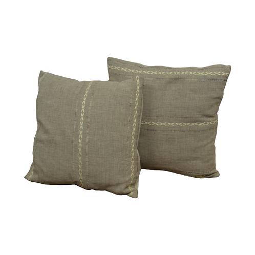 Tan Pillows with Trim