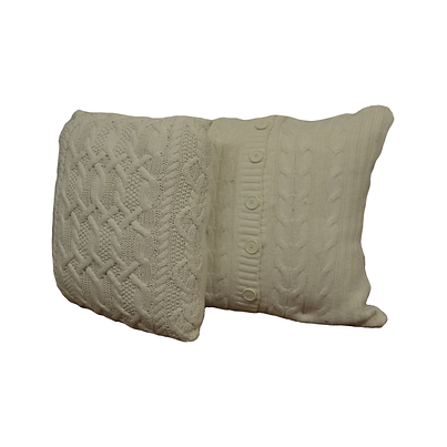 Woven ivory pillows