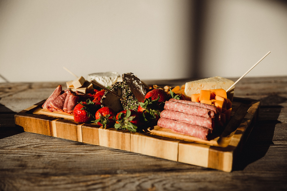 Simple charcuterie board served following simple ceremony