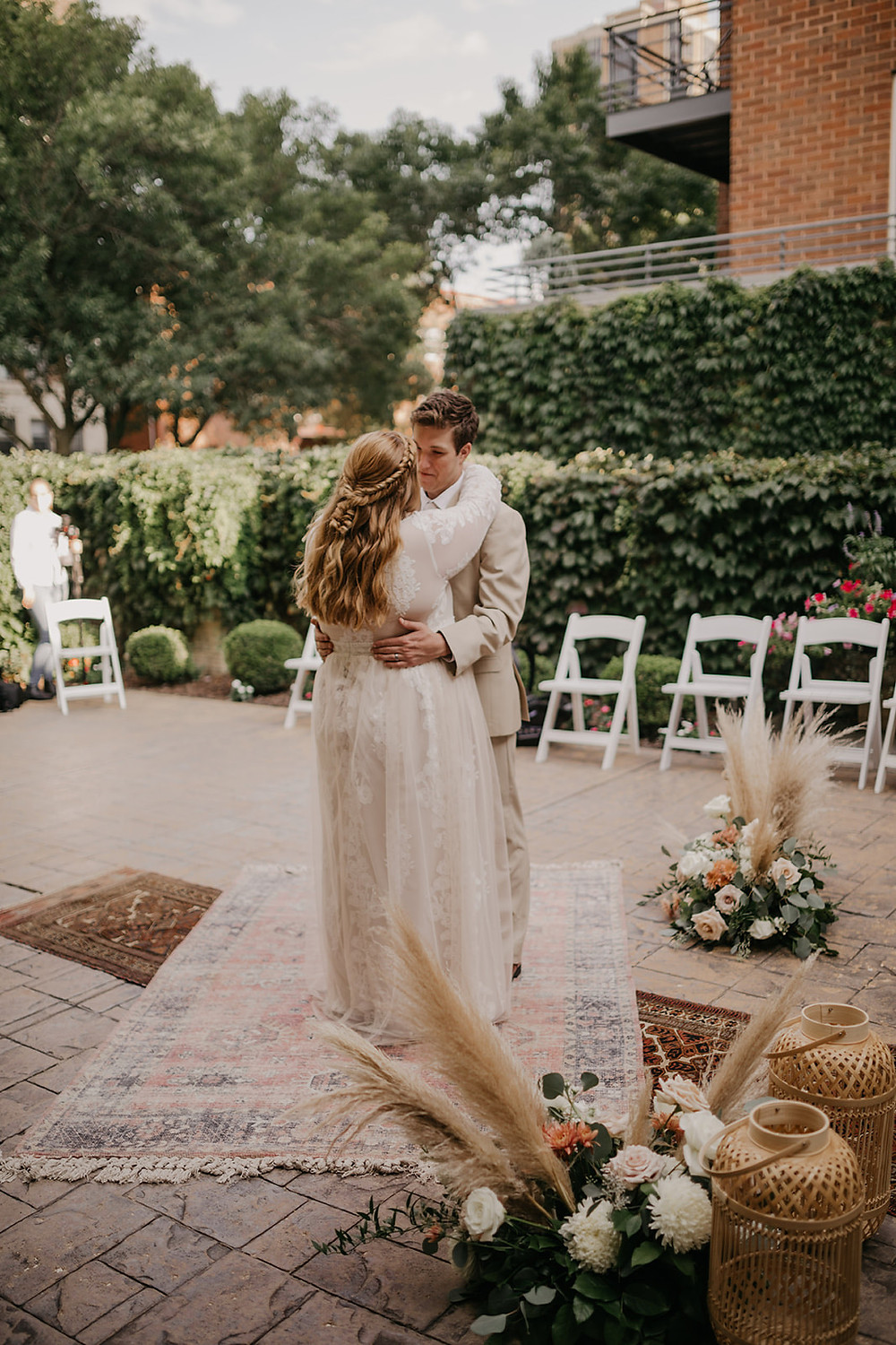 First dance, surrounded by all the Boho decor elements that made this wedding day perfect.