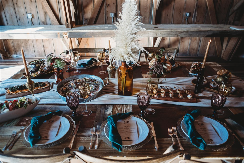 Greenspoon Kitchen served gourmet presentation of delicious food in the barn