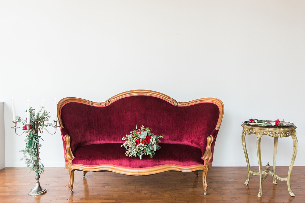 Mulberry settee is the perfect rich and colorful vintage settee for your wedding and special events.