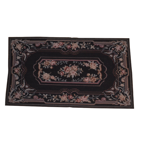 Black Aubusson Area Rug