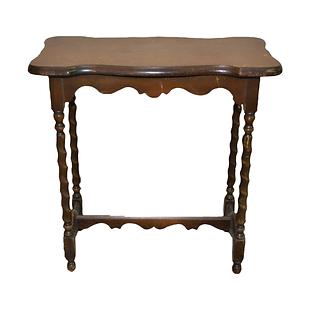 Wooden, Turned-Leg Side Table