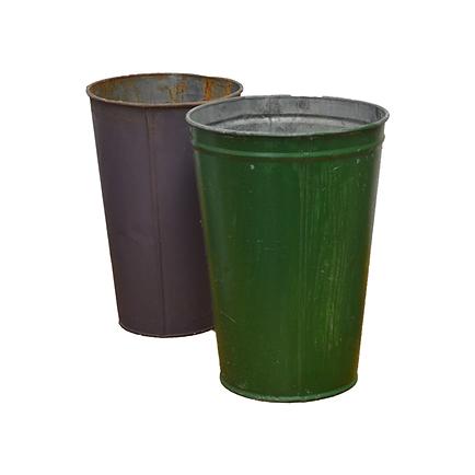 Painted vintage sap buckets