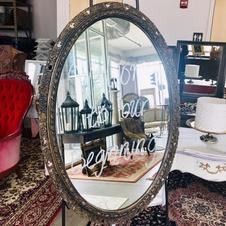 Dark Wood Frame Gold Oval Mirror