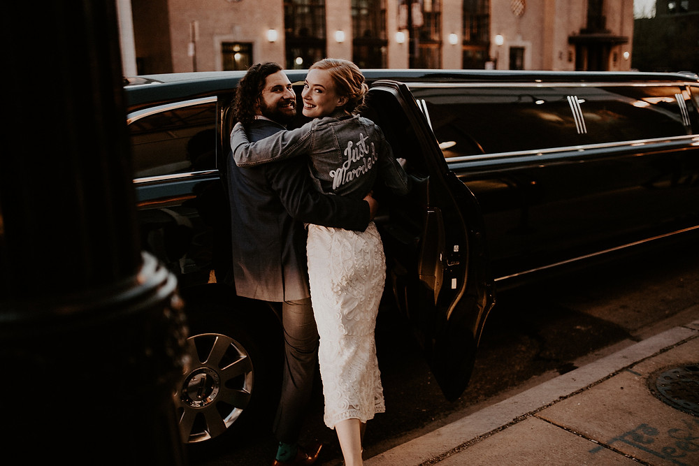 The happy couple leave their Row 24 Events Chicago Wedding Reception in style