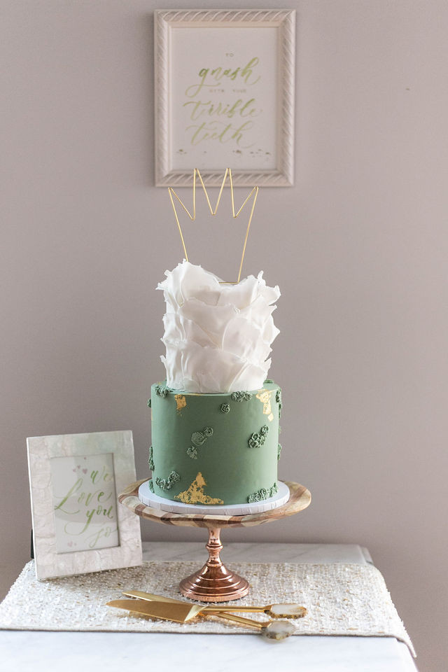 Stunning 2 layer green and white cake for Where the Wild Things Grow Baby Shower