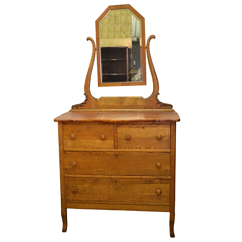 Vintage Tiger Oak Dresser and Mirror