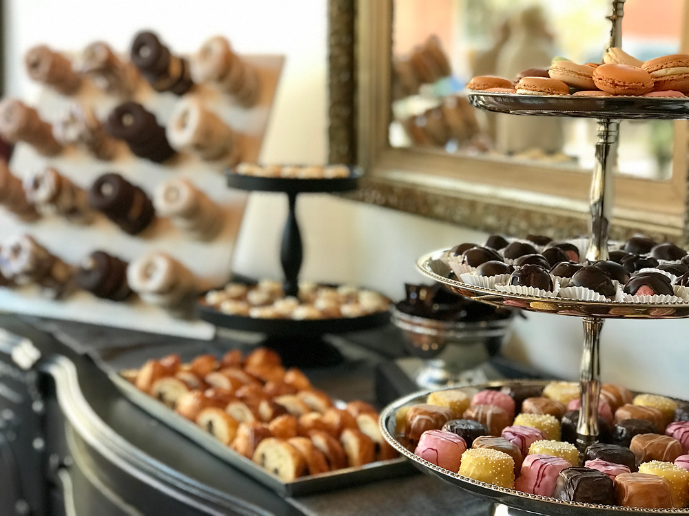 sweets-table-display-on-vintage-buffet-at-The-Loft-of-Elements-Preserved