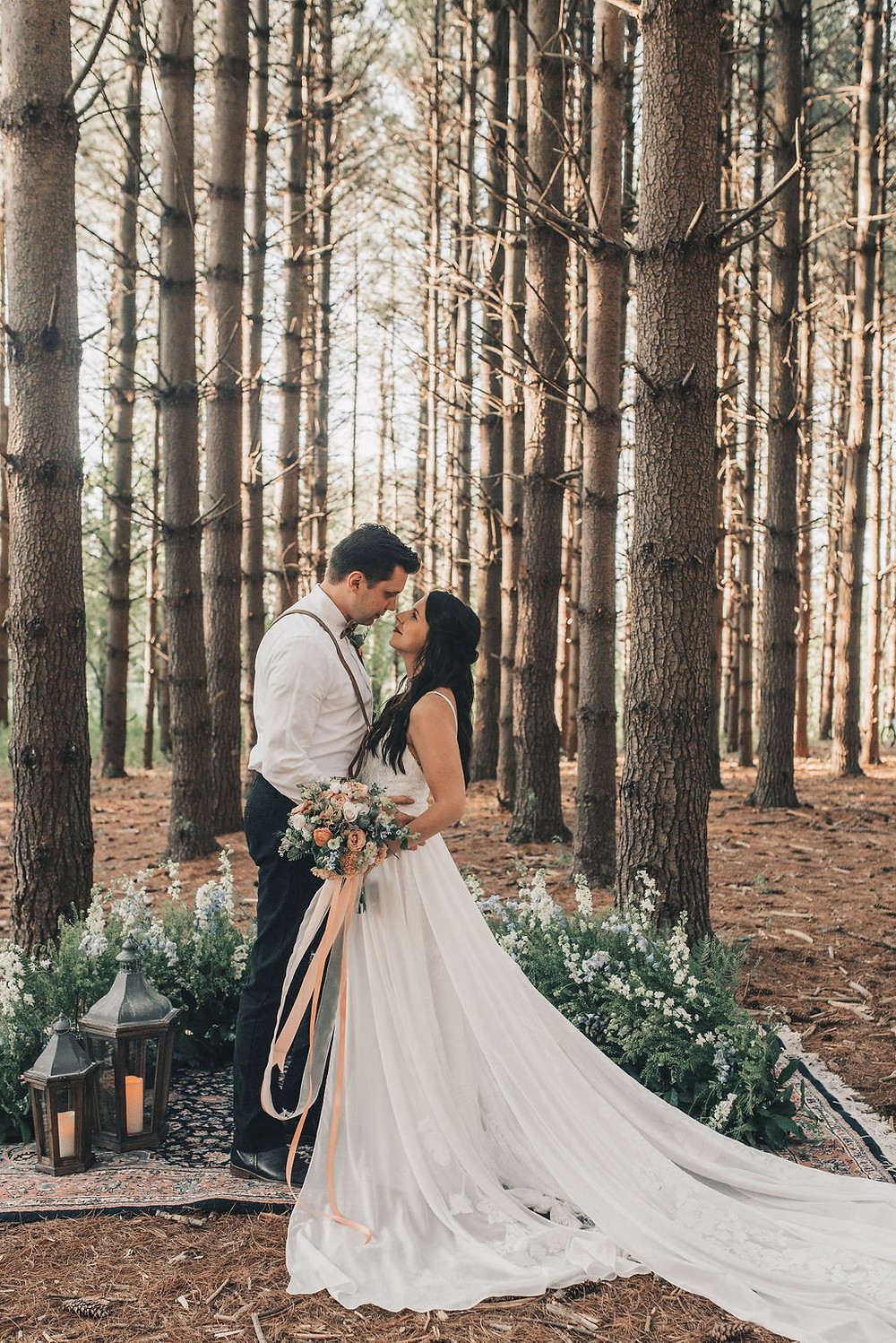 Towering pines are the backdrop to a tiny wedding ceremony in Chicago suburbs