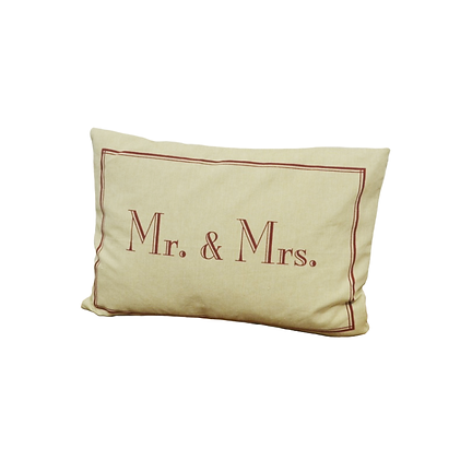 burgundy text Mr. and Mrs. pillow