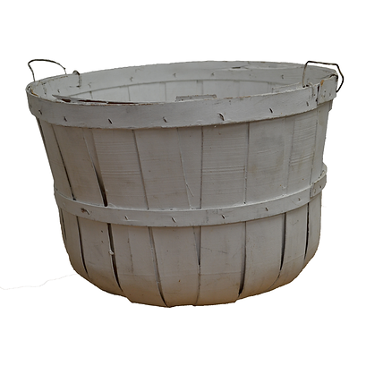 Wooden, White Painted Apple Basket