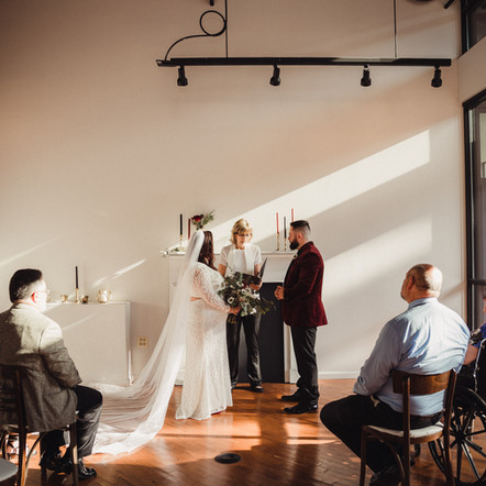The tiniest elopement wedding at The Loft of Elements Preserved