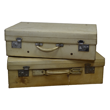 White, Leather Vintage Luggage