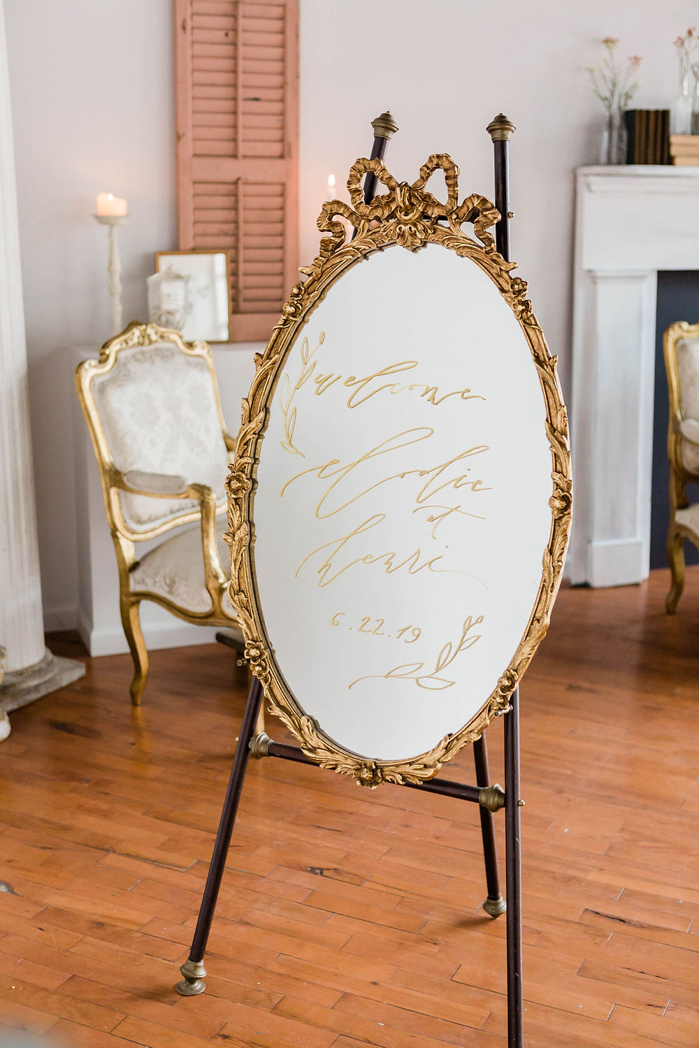 Vintage gold gilt mirror with hand-drawn calligraphy welcome