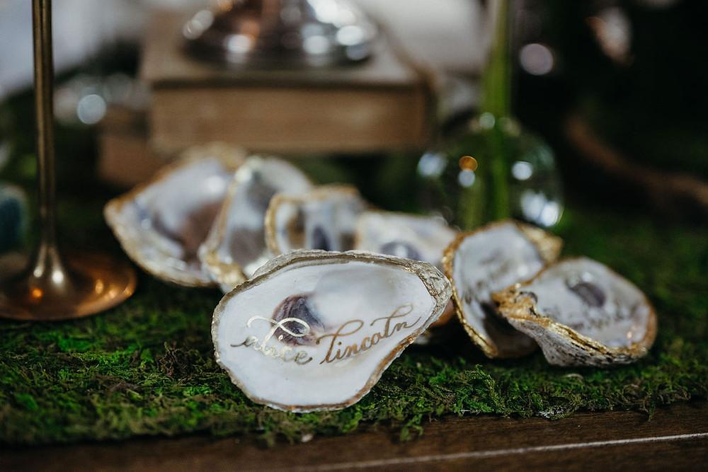 calligraphy written inside oyster shells