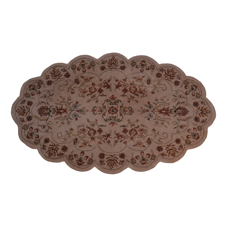 Area rug with scalloped edges