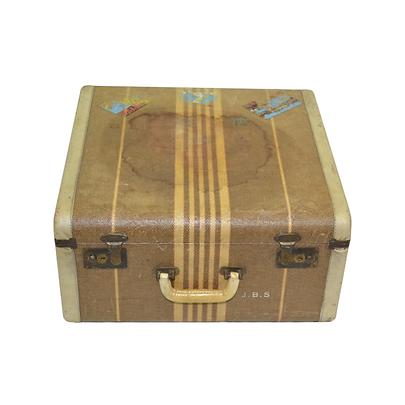 Vintage tweed suitcase with stickers