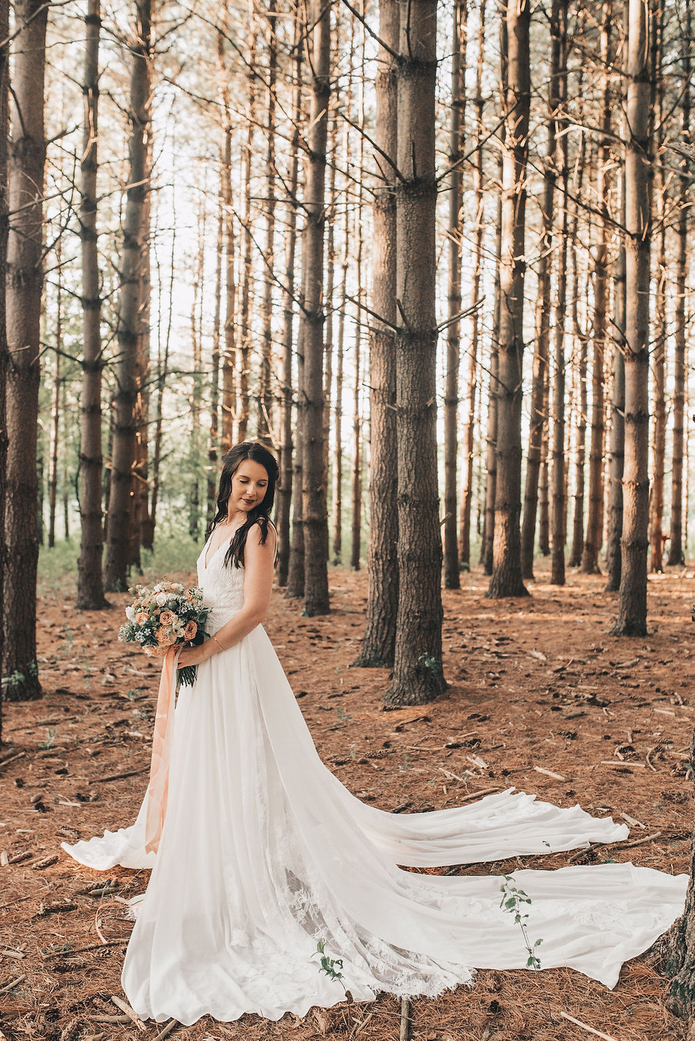 The bridal gown was simple, but stunning; white, simple lace, and split train