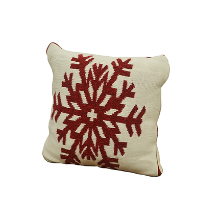 ivory, woven pillow with red snowflake