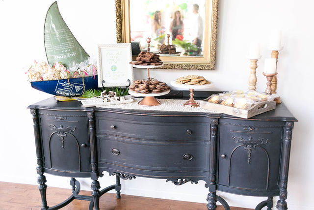 Vintage buffet serves as a sweets table for most events, and is one of our in-house furnishings provided to all guests.