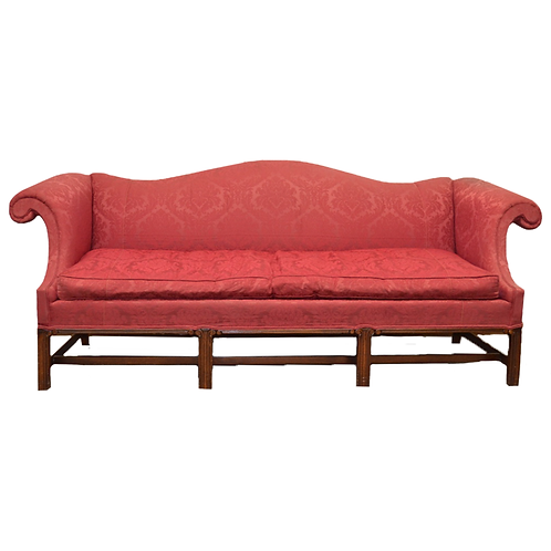 Curved Arm - Camelback Sofa with Wood Trim