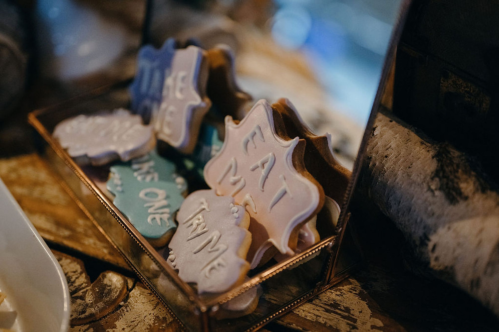 cookies in a vintage tray in alice in wonderland styled shoot
