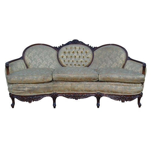 Queen Anne Green Sofa with Elaborate Wood Trim