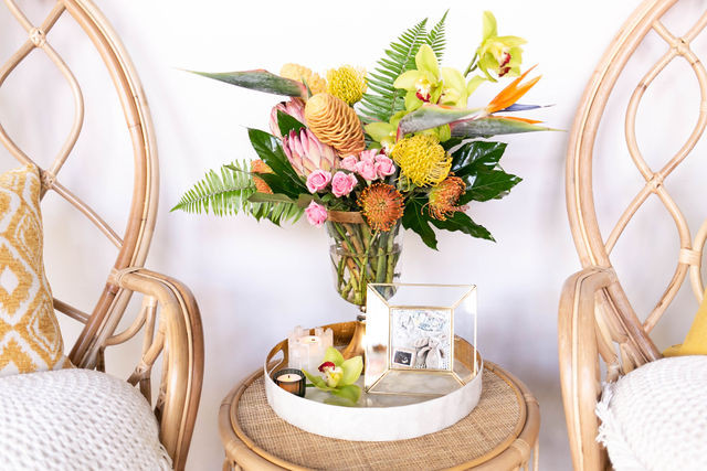 Colorful floral arrangement speaks to Where the Wild Things Are theme!