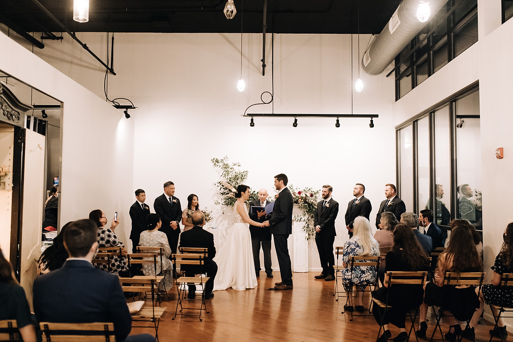 Bride and Groom exchange vows at The Loft of Elements Preserved