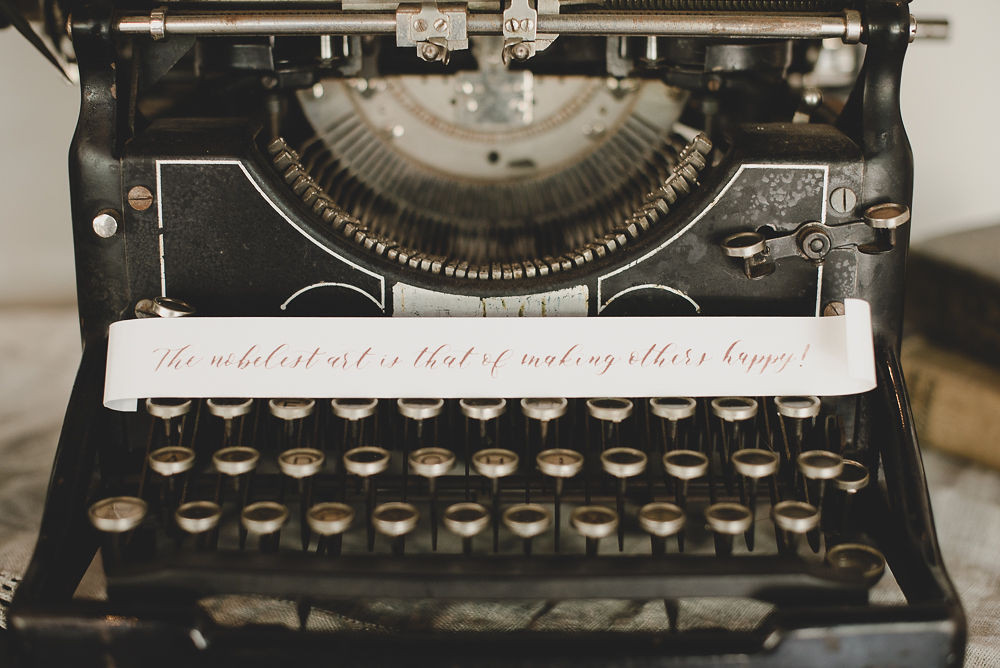 vintage typewriter, industrial prop, black typewriter, vintage styling, wedding rentals, event rentals