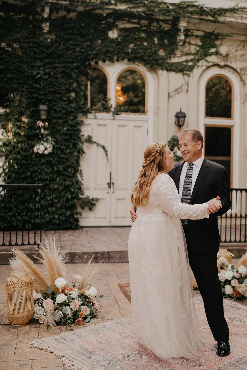 First dance between father and daughter shows the joy and happiness of the day.
