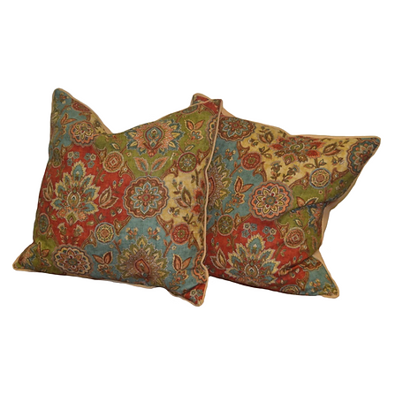 Floral front, yellow back boho pillows