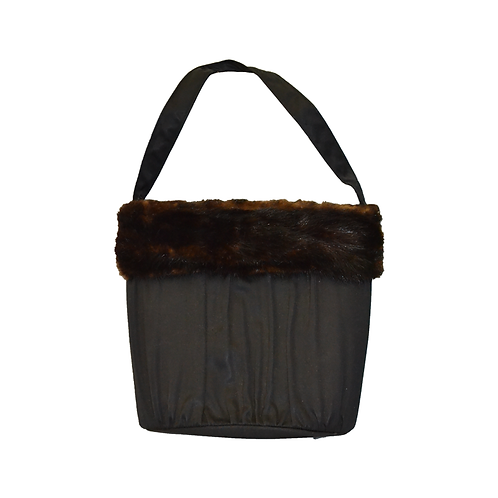Black Purse with Fur Trim